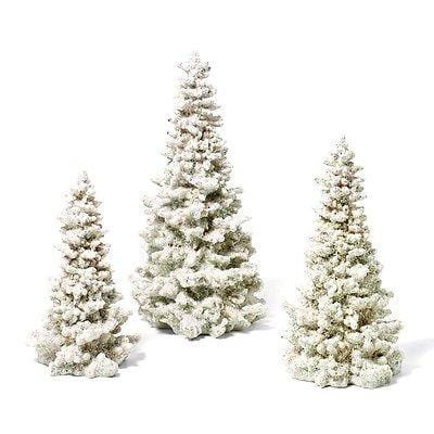 Dept 56 White Glittered Trees Set/3 #45641 NIB FREE SHIPPING