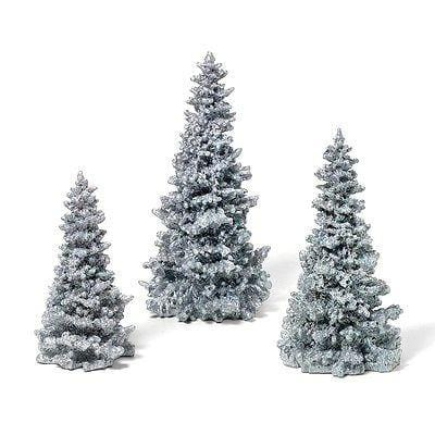 Dept 56 Silver Glittered Trees Set/3 #49005 NIB FREE SHIPPING OFFER