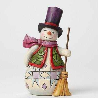 Jim Shore HWC 2015 Pint Size Snowman w/Top Hat & Broom #4047773 NIB FREE SHIP 48