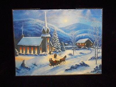 "Mr. Christmas Illuminart Reversible Canvas Church 12"" x 16"" #10261M NEW"