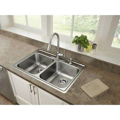 Moen Mather 18ga Stainless-Steel Equal Double-Bowl Sink w/Drain Assemblies NEW