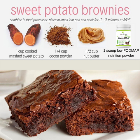 Low FODMAP Sweet Potato Protein Brownies (Grain, Dairy, Egg Free)