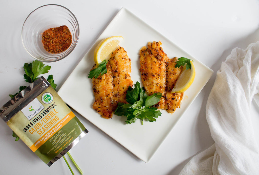 Low FODMAP Cajun Flounder with Maple Butter Recipe