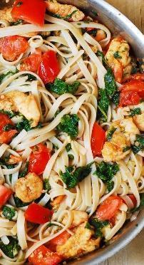 Low FODMAP Vegetable Brown Rice Pasta with Shrimp Recipe