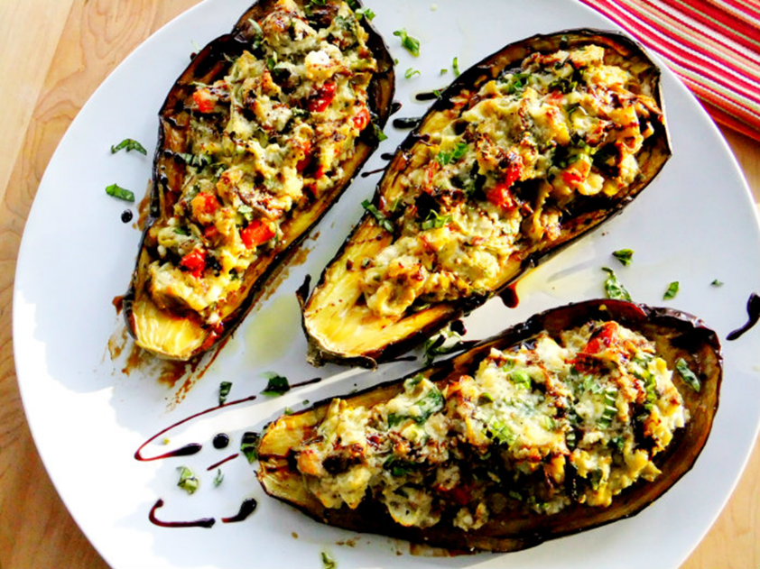 Low FODMAP Stuffed Eggplant Parmesan With Chicken Recipe