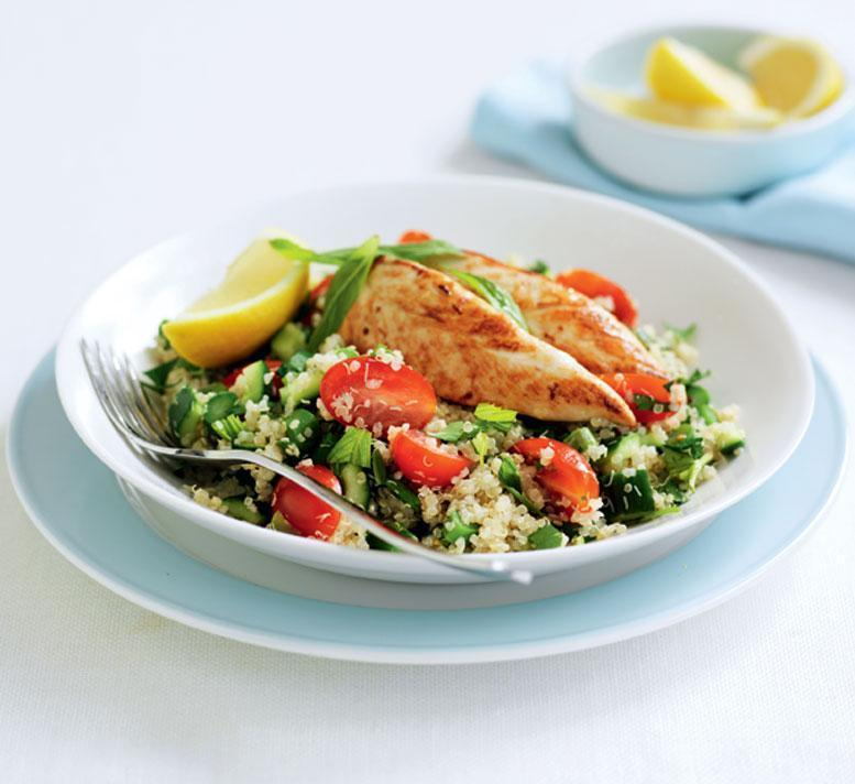 Low FODMAP Grilled Chicken Quinoa Taboulleh Salad Recipe
