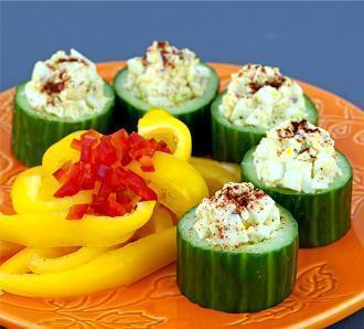Low FODMAP Egg Salad in Cucumber Cups Recipe