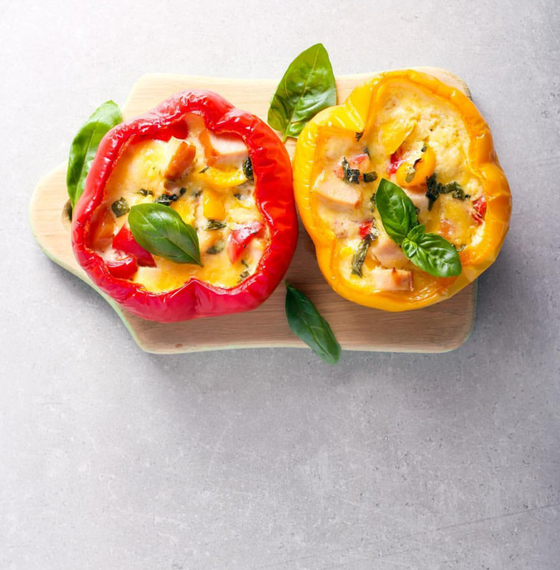 Low FODMAP Scrambled Eggs Stuffed Bell Pepper Recipe