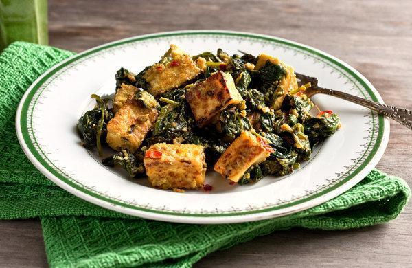Low FODMAP Indian Style Tofu with Spinach Recipe
