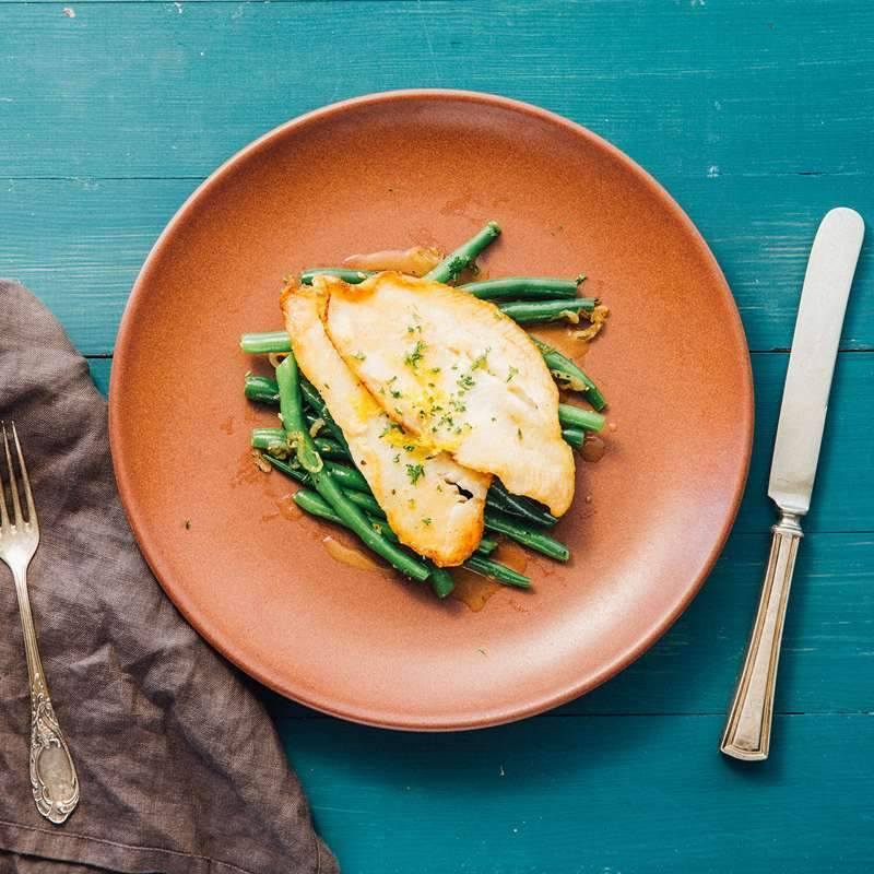 Low FODMAP Sole Meuniere with Green Beans Recipe