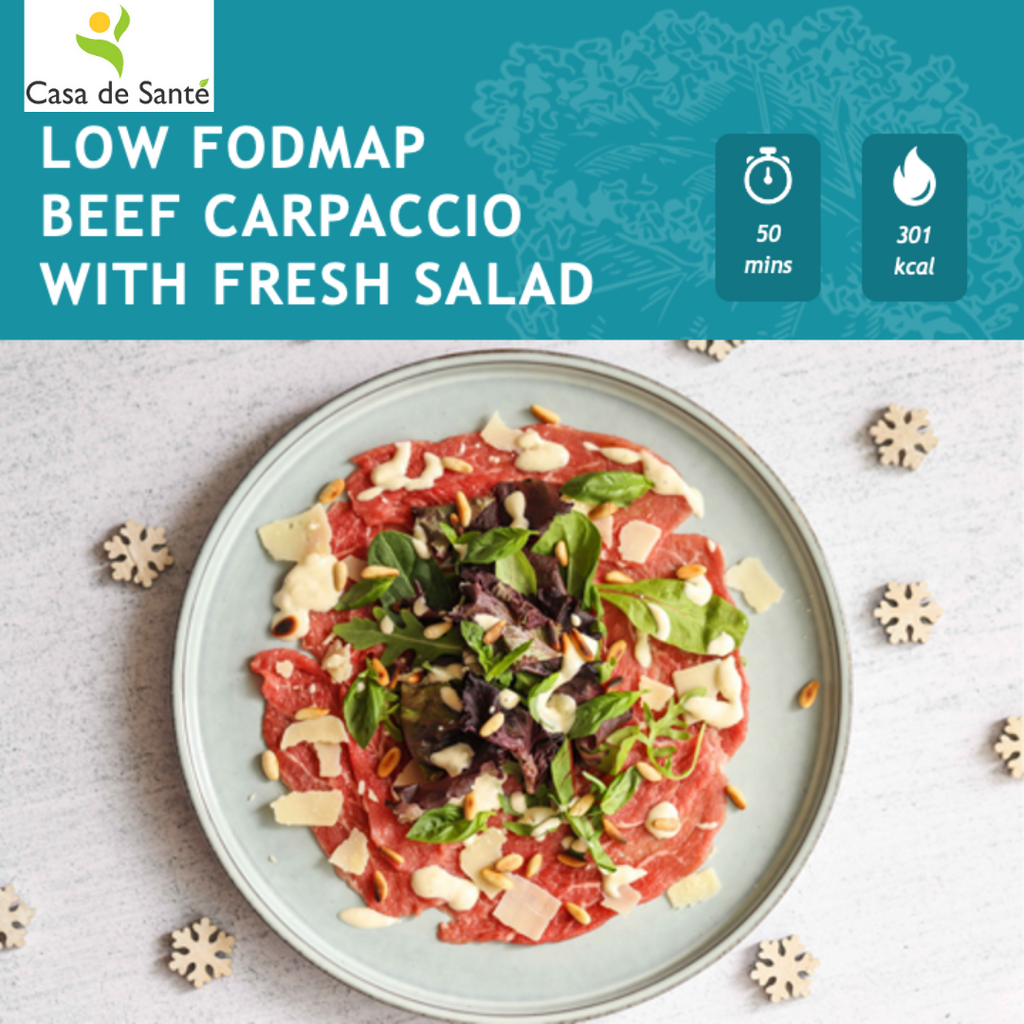 LOW FODMAP BEEF CARPACCIO WITH FRESH SALAD