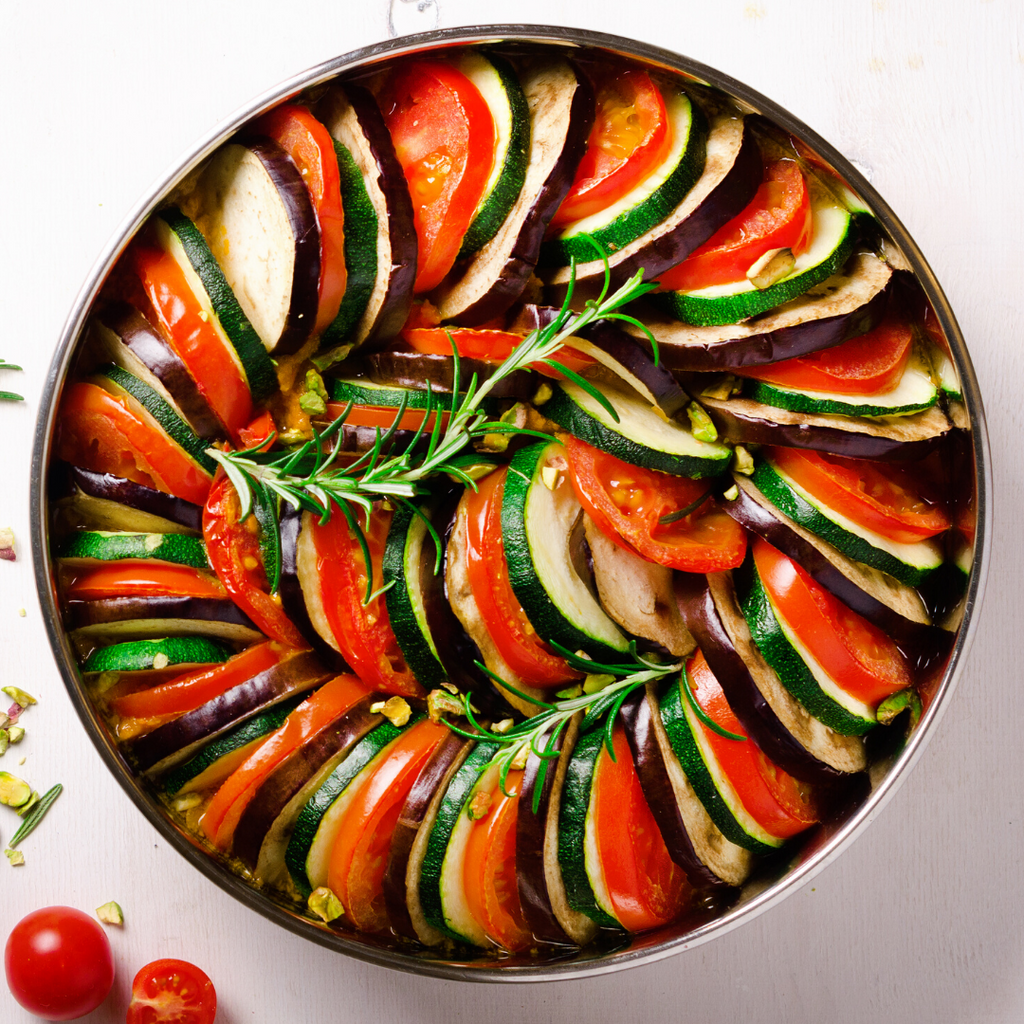 Low FODMAP Zucchini, Eggplant and Tomato Tian