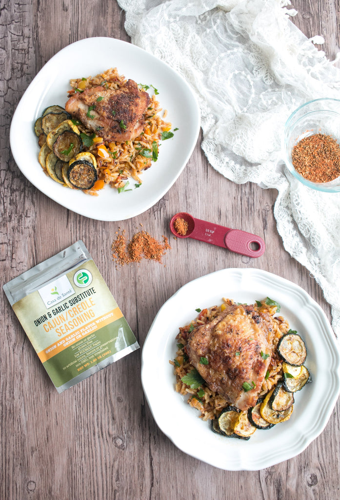 Low FODMAP Cajun Chicken with Dirty Rice