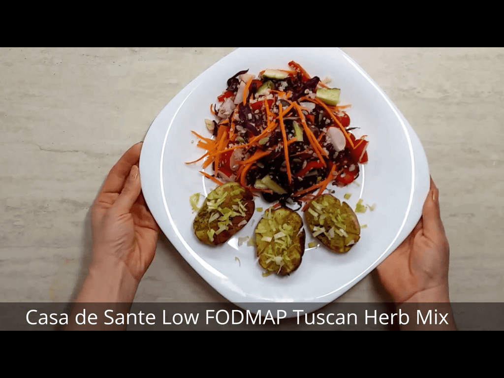 Vegetarian Low FODMAP Tuscan Herb Baked Potatoes and Quinoa Salad Recipe (Video)