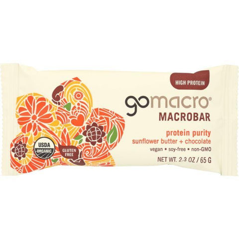 GOMACRO Low FODMAP Protein Bar: Protein Purity Sunflower Butter + Chocolate, 2.3 oz