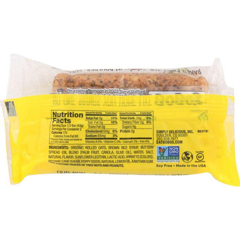 BOBO'S Low FODMAP Bars: Gluten Free Lemon Poppyseed Oat Bars, 3 oz
