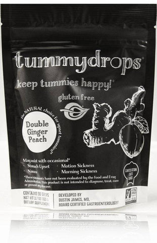 Chef Series Double Ginger Peach Flavored Tummydrops, non GMO, 30 count-casa de sante