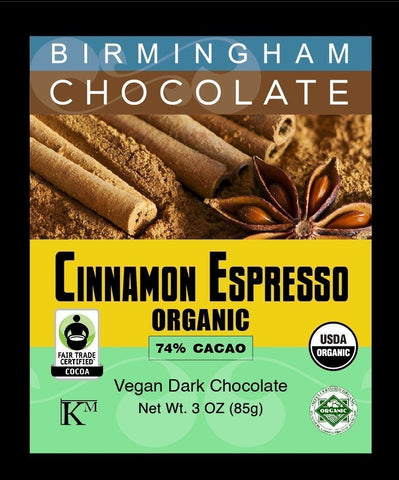 Cinnamon Espresso Birmingham Chocolate 74% Cacao - Organic, All Natural, Gluten Free, Kosher, 3oz Bar-casa de sante