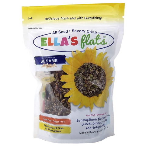 Ella's Flats Sesame - Low FODMAP Snack, All-Seed Savory Crisp Resealable Stand-Up Pouch (6.5oz)-casa de sante