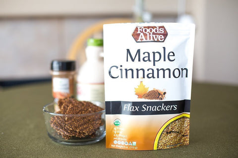 Foods Alive Maple and Cinnamon Flax Snackers - Organic, Vegan, Gluten-Free, Non GMO, 4oz Bag-casa de sante