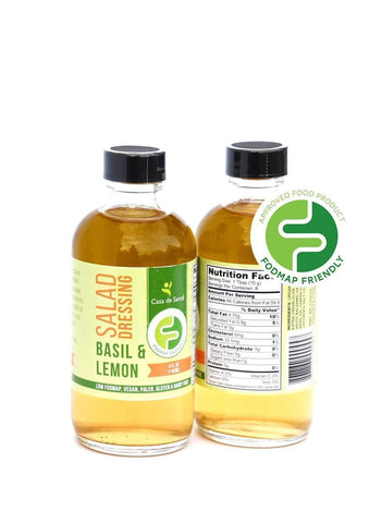 Low FODMAP Certified & AIP Salad Dressing (Basil & Lemon) - Essential Oil Balsamic Vinaigrette No Onion No Garlic Artisan Salad Dressing, Paleo-no onion no garlic low fodmap salad dressing-casa de sante