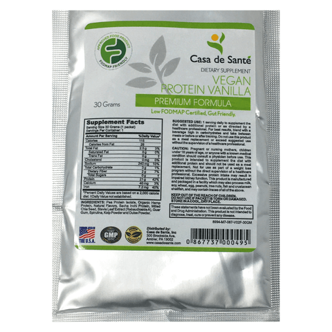 Low FODMAP Certified Protein Powder Vegan, Gluten Free, Dairy Free, Soy Free, Grain Free, Sugar Free, All Natural, Non GMO, Low Carb (Sample) - casa de sante