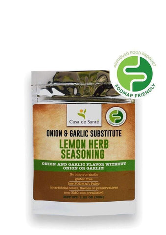Low FODMAP Certified Spice Mix (Lemon Herb Seasoning) - No Onion No Garlic, Gut Friendly, Artisan, Onion and Garlic Substitute Seasonings, Paleo-no onion no garlic low fodmap spice-casa de sante