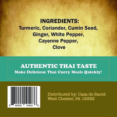 Low FODMAP Certified Spice Mix (Thai Curry Seasoning) Pouch - No Onion No Garlic, Gluten Free, Gut Friendly, Artisan
