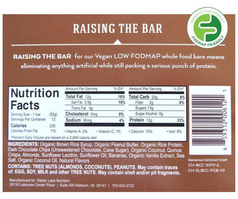 Low FODMAP Certified Protein Vegan Bar, Banana Coconut Chip, 6 pack-protein snack bar-casa de sante