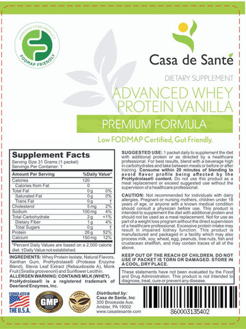 Low FODMAP Protein Powder, Gluten Lactose Soy Sugar & Grain Free Low Carb All Natural Whey (WPI) ProHydrolase 3X Protein Absorption Vanilla (Sample) - casa de sante
