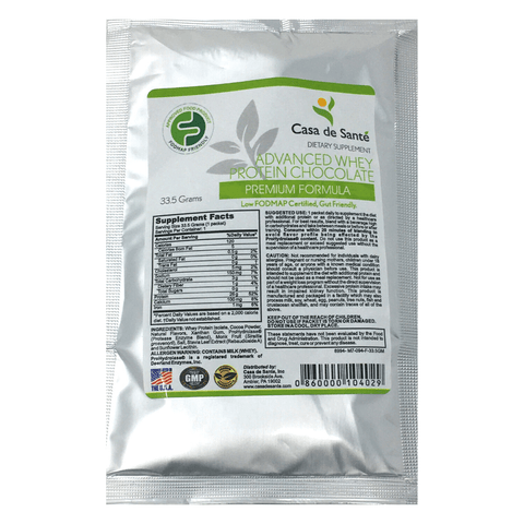 Low FODMAP Protein Powder, Gluten Lactose Soy Sugar & Grain Free Low Carb All Natural Whey (WPI) ProHydrolase 3X Protein Absorption Chocolate (Sample) - casa de sante