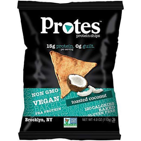 Low FODMAP Protes Protein Chips - Toasted Coconut - High Protein Snacks, Low Carb, Vegan, Gluten-Free, 4oz Bag-casa de sante