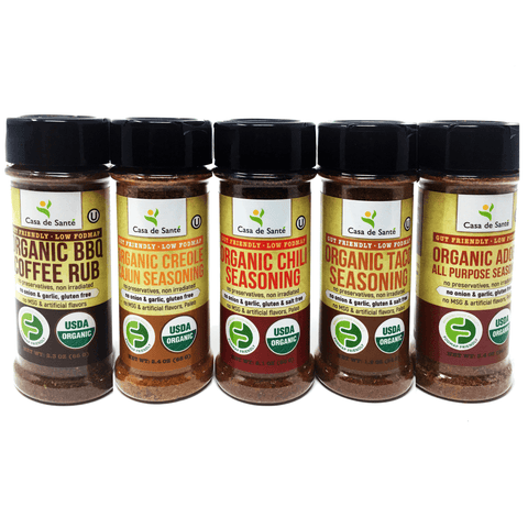 Organic Low FODMAP Spice Mixes -No Onion No Garlic, Gluten Free, No Carb, Keto, Paleo, Kosher, American 5 Pack-no onion no garlic low fodmap spice-casa de sante