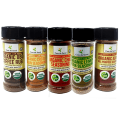 Organic Low FODMAP Spice Mixes -No Onion No Garlic, Gluten Free, No Carb, Keto, Paleo, Kosher, Grilling 5 Pack - casa de sante