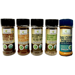 Organic Low FODMAP Spice Mixes, No Onion No Garlic, Gluten Free, No Carb, Keto, Paleo, Kosher, Starter 5 Pack - casa de sante