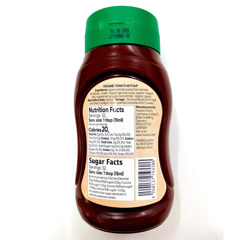 Organic Low FODMAP Tomato Ketchup (300ml) -  No Onion No Garlic, Low Fructose, Gluten free, Lactose free, Vegan, 3-pack.