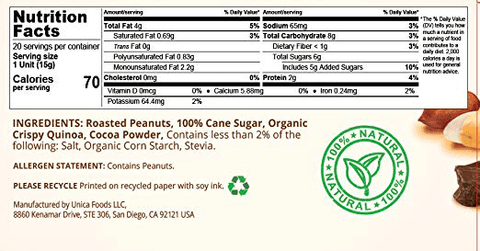 Pasokin Cocoa Crunch Peanut Butter Low FODMAP Snack - All Natural, Vegan, Gluten-Free, Non GMO, No Preservatives, 12 Count-casa de sante