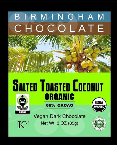 Salted Toasted Coconut Birmingham Chocolate 66% Cacao - Organic, All Natural, Gluten Free, Kosher, 3oz Bar-casa de sante