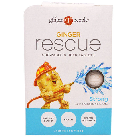 The Ginger People, Ginger Rescue, Chewable Ginger Tablets, Strong, 24 Tablets (15.6 g)-casa de sante