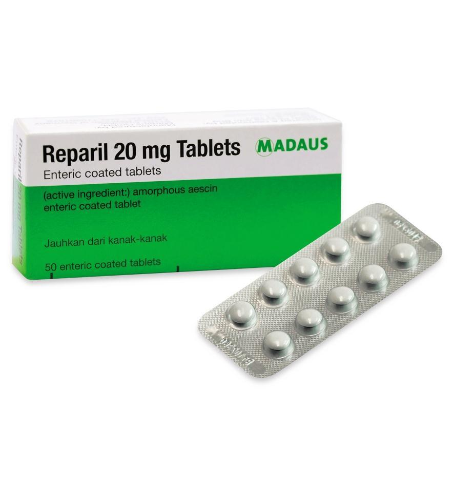 Reparil 20mg 10 tablets Reduction of localised swelling following injuries Made in Germany