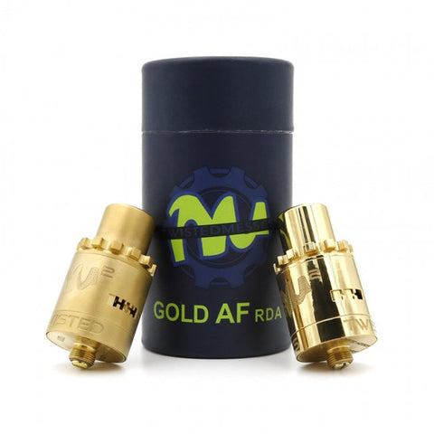 Twisted Messes AF RDA Matte and Polished Gold Drip Atomizer Designed by Jay Bo