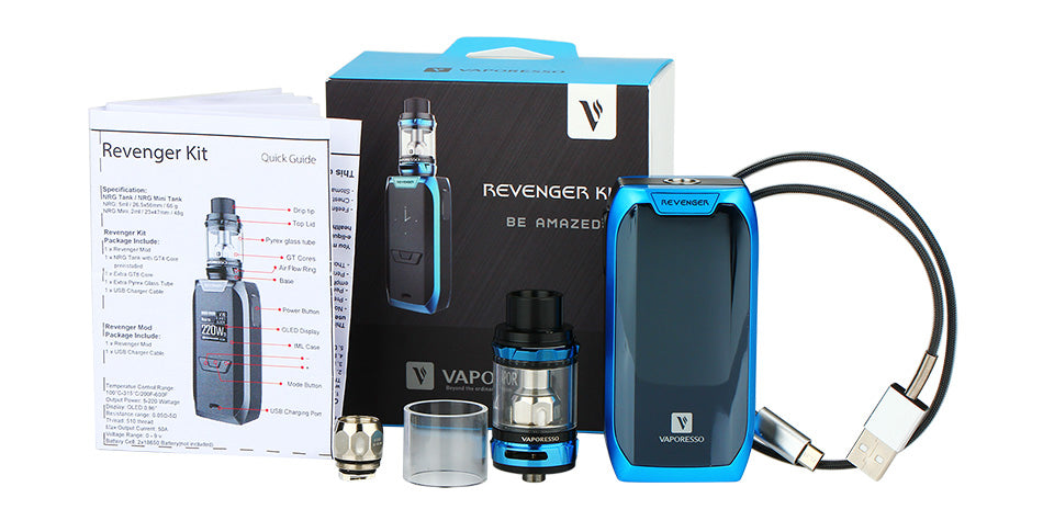 Revenger Starter 220W Kit 5ml NRG Atomizer Tank Vaporesso Black Blue Red Rainbow