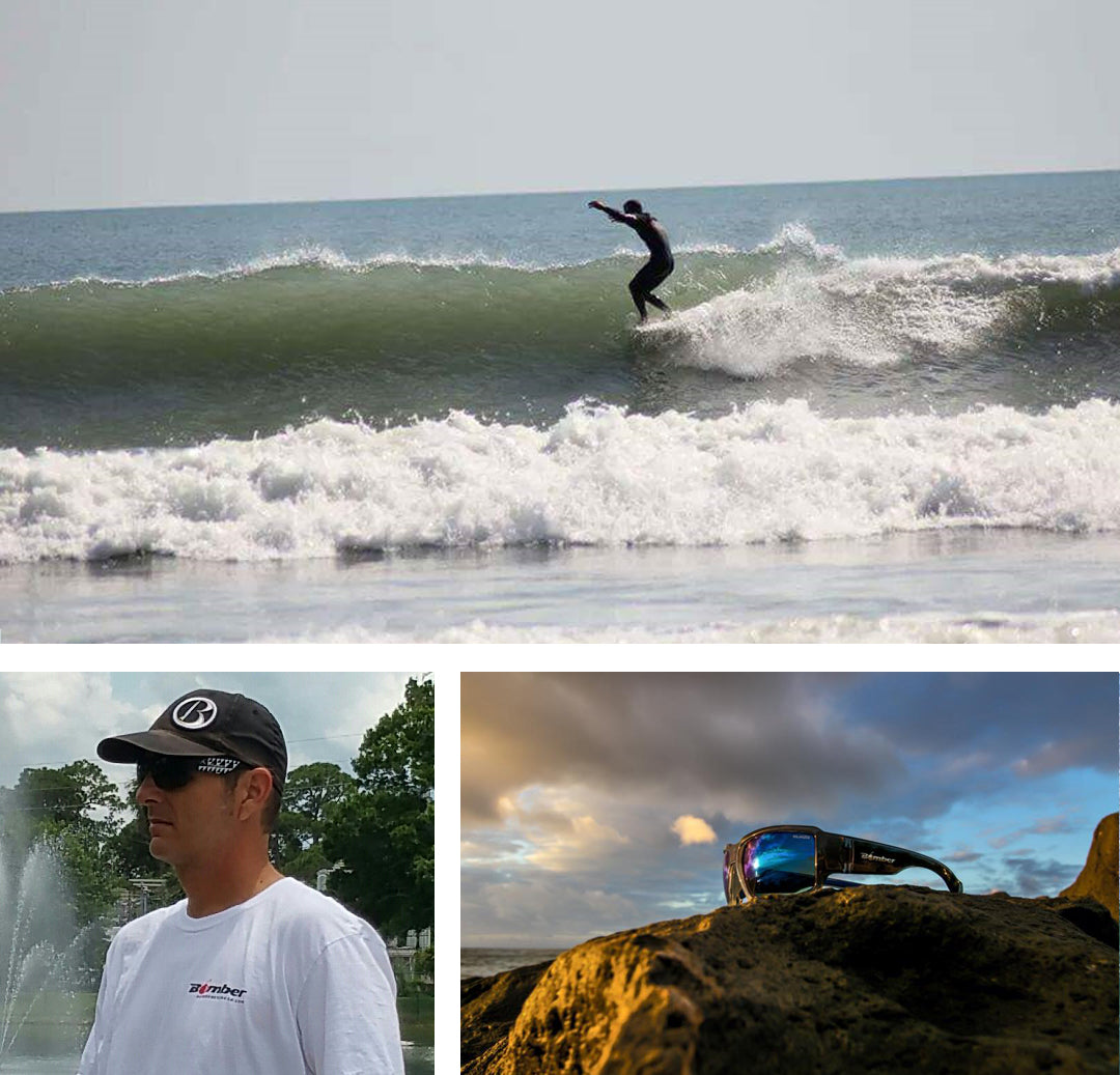 48c27c5ade65 Collage of Bomber Eyewear East Coast Team Rider Joey Stevens Florida  catching a nose ride on ...
