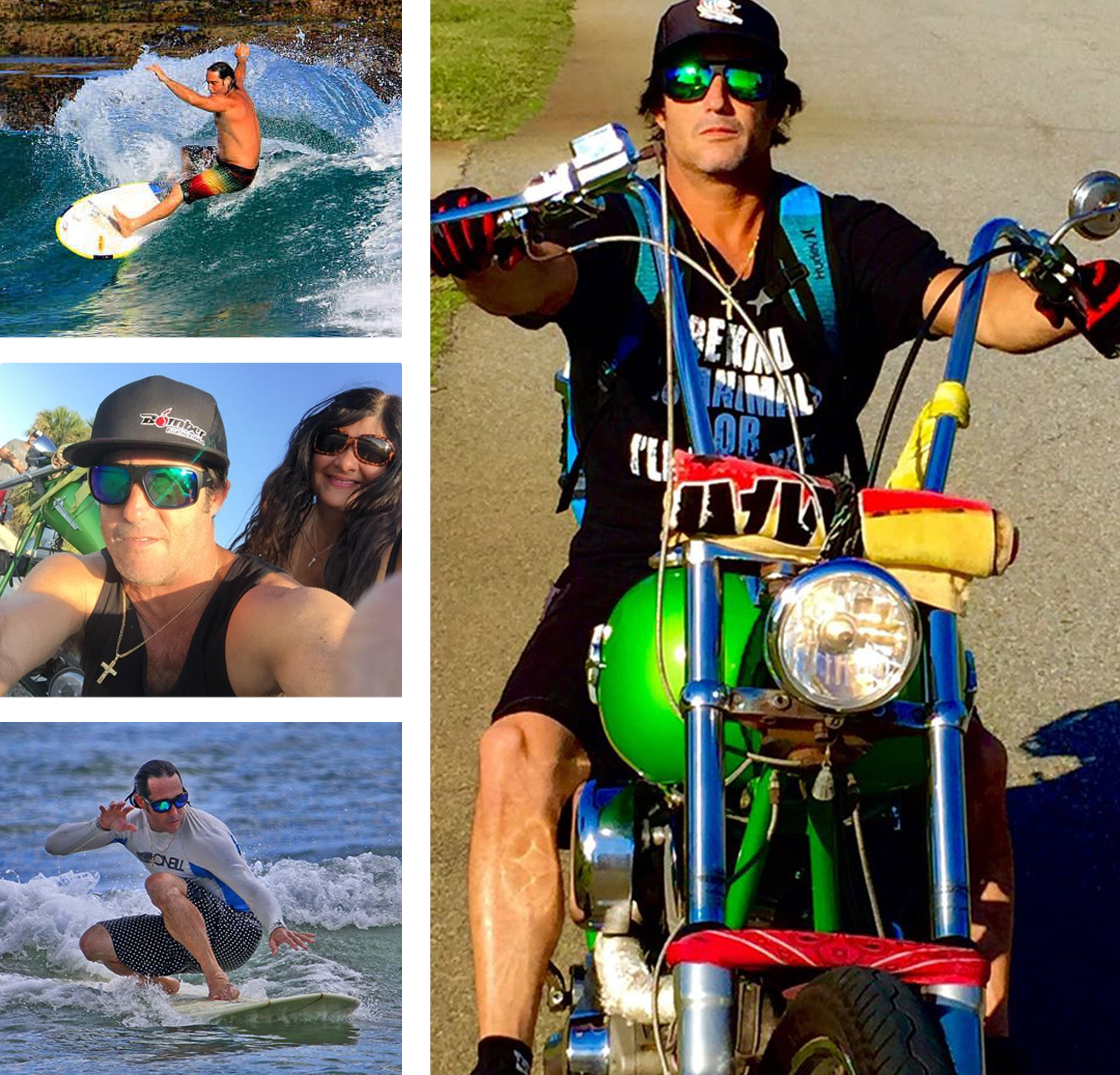 6f5dbe1c3f07 Collage of Bomber Eyewear East Coast Ambassador Luis Wicho Rodriguez Florida  surfing and riding his motorcycle ...