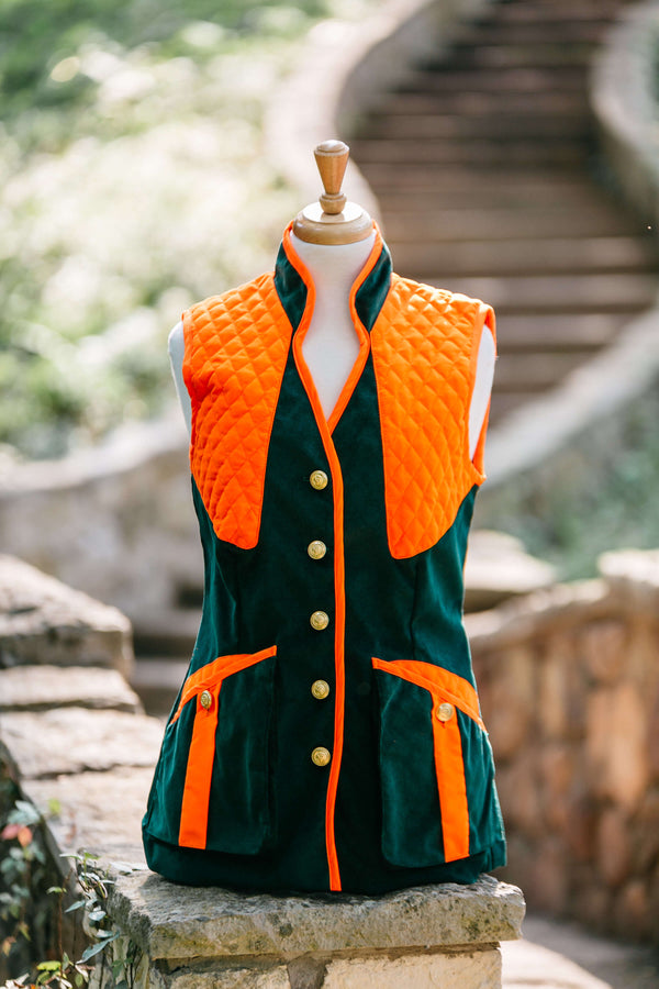 Hunter Green Featherwale with Orange Trim