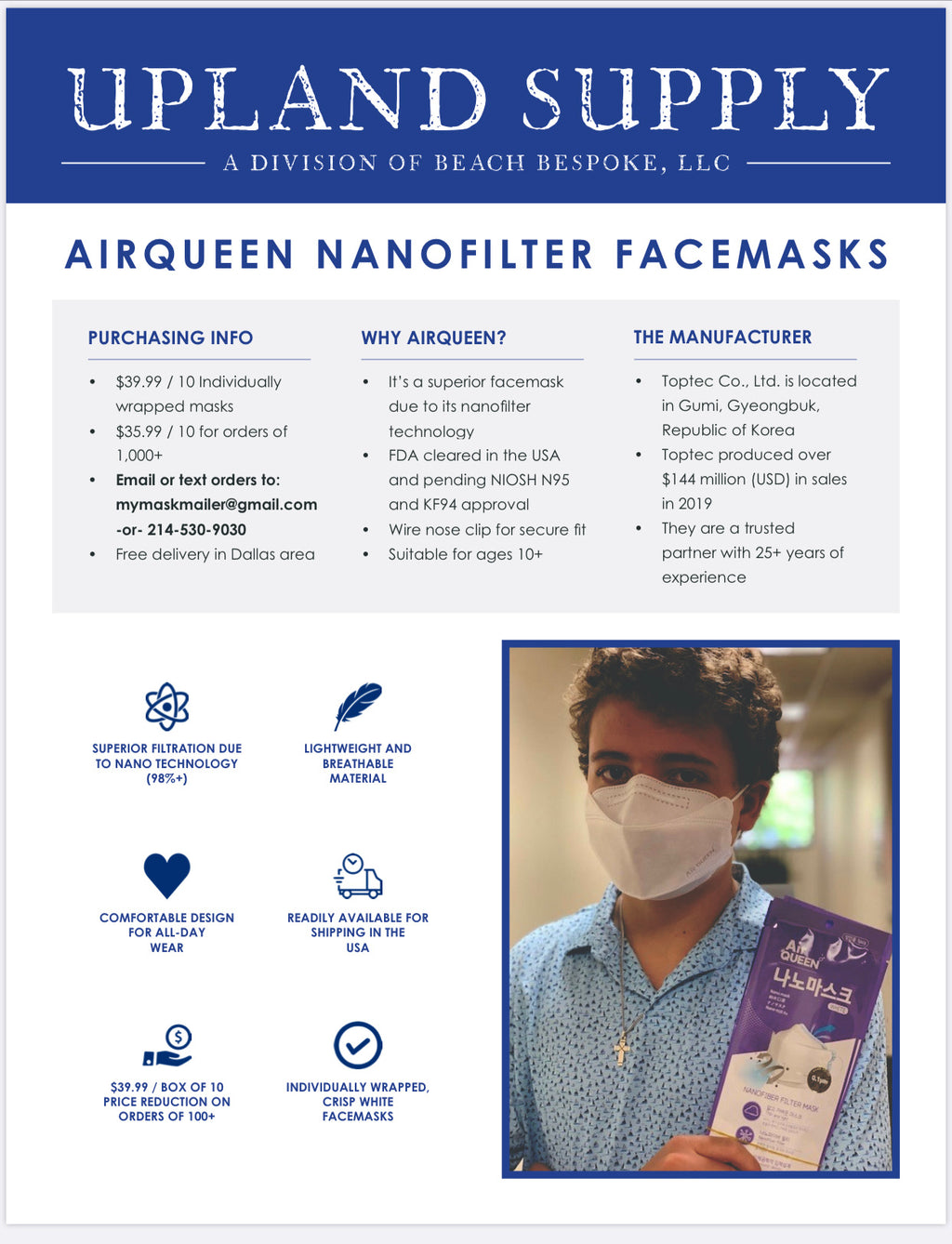 Air Queen Nanofiber Filter Mask 10/Pack - Upland Bespoke
