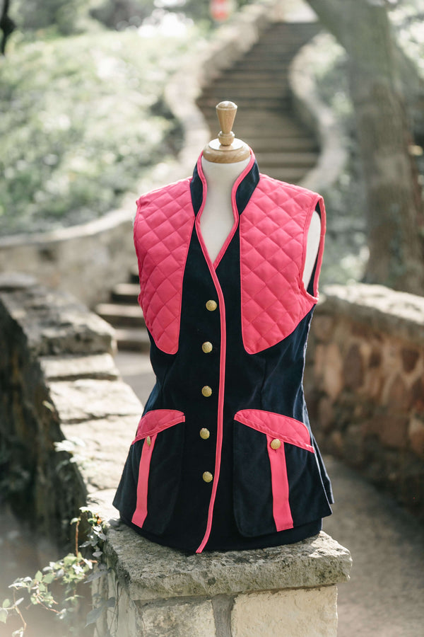 Girls Navy Featherwale with Pink Trim