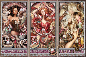 """Neapolitan Ice Cream Cthulhu Triptych"" (Set of 3 Prints)"