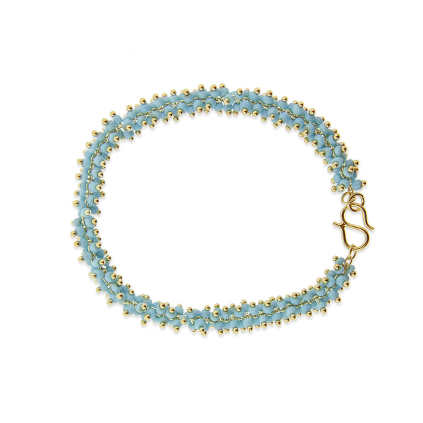 Lyon Bracelet - Light Blue/Yellow Gold