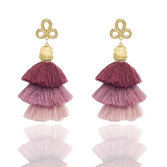 Alora Earrings - Yellow Gold / Pink